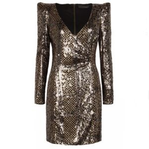 Deep- V Long- Sleeved Gold Sequin Mini Dress